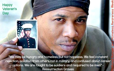 Great to share on:National Hunger and Homeless Awareness Week; Veteran's Day