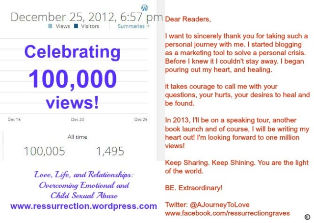 One hundred thousand views December 25 2012 with words