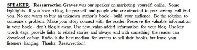 Cindy Brookshire's minutes to share with her group Writing by the Rails in Manassas, Virginia